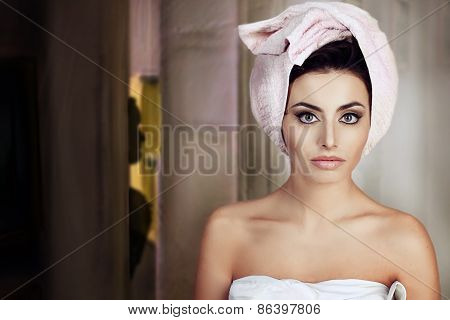 woman with a towel in her head