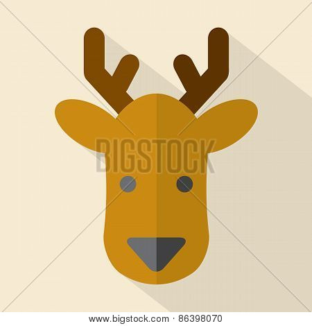 Modern Flat Design Deer Icon.