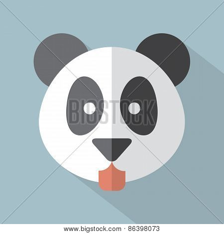 Modern Flat Design Panda Icon.