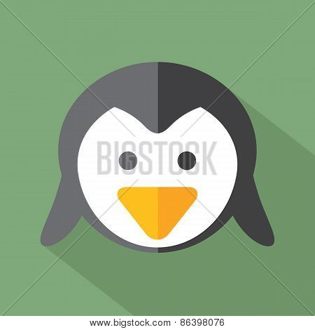 Modern Flat Design Penguin Icon.