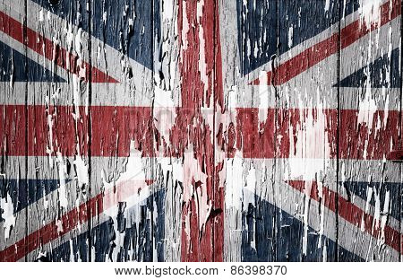 Flaking paint boards Union Jack flag