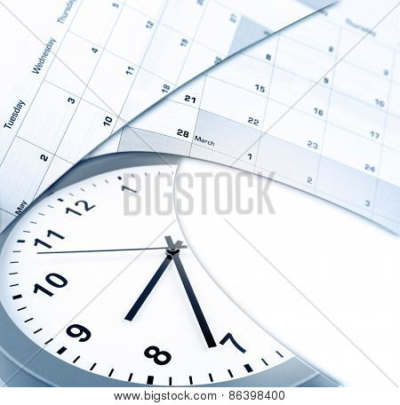 Clock face and calendars on white, copy space