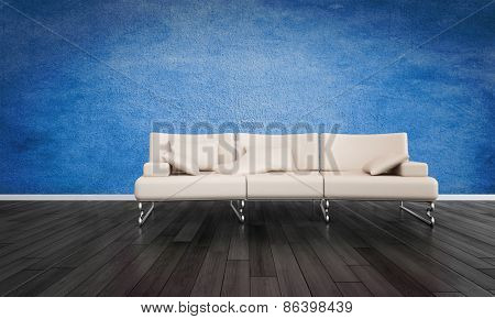 Elegant modern white three seater and metal leather sofa in an undecorated room with black wooden flooring and a deep blue textured wall.  3d Rendering