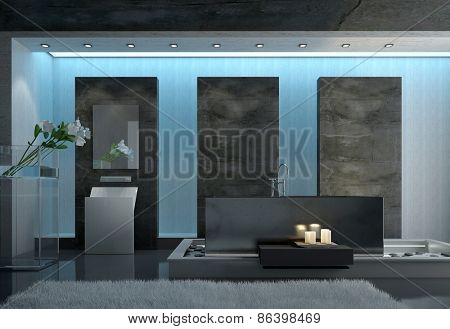 Contemporary Architectural Design of a Gray Bathroom with Gray Carpet on the Floor, Lighted Candles Near the Tub and Fresh Flower Cutting Near the Wall. 3d Rendering