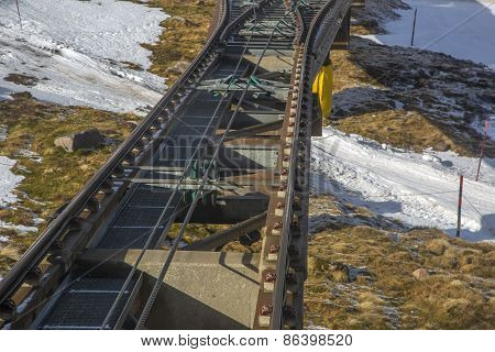 Close shot of Funicular railway track