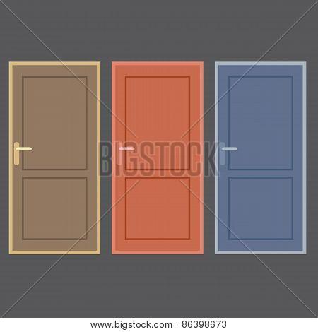 Flat Design Vintage Doors Collection.