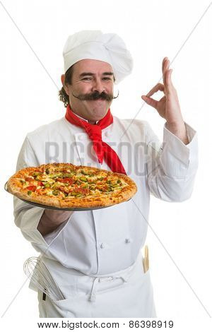 Smiling Italian chef with a pizza in hand