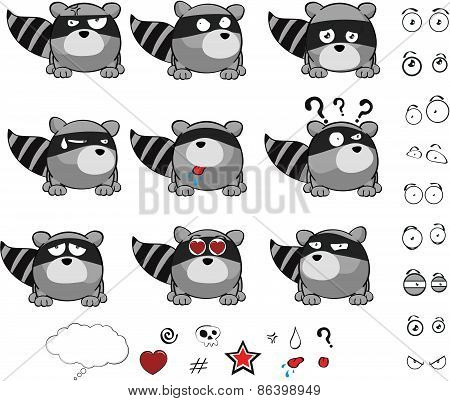 little raccoon cartoon set