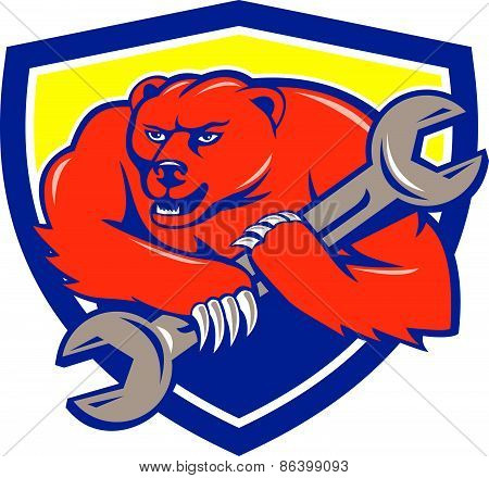 Grizzly Bear Mechanic Spanner Shield Cartoon