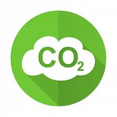 picture of carbon-dioxide  - carbon dioxide green flat icon co2 sign