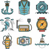 picture of nautical equipment  - Set of flat design colored vector icons for diving research equipment on white background - JPG