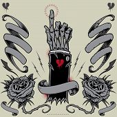 Image of skeleton hand, ribbons, roses and thunder in old school tattoo style elements design vector.