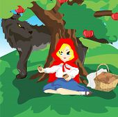 stock photo of pie  - Girl sitting under a tree in a red hood with a basket of pies - JPG