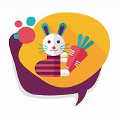 stock photo of cony  - Rabbit With Carrot Flat Icon With Long Shadow - JPG