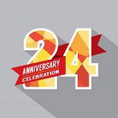 stock photo of 24th  - 24th Years Anniversary Celebration Design Vector - JPG