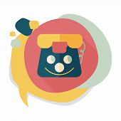 picture of toy phone  - Toy Phone Flat Icon With Long Shadow - JPG