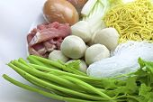 foto of shabu  - Sukiyaki mixed vegetables meat combinations are set on a plate - JPG