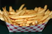 pic of french fries  - freshly made crispy french fries in a cardboard box - JPG