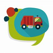 stock photo of trash truck  - Transportation Garbage Truck Flat Icon With Long Shadow - JPG