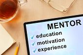 foto of mentoring  - Tablet with word mentor - JPG