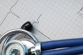 pic of ecg chart  - Stethoscope and ECG concept of medical diagnostics - JPG
