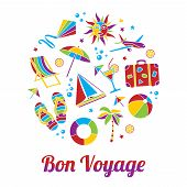 picture of bon voyage  - Vacation illustration with Bon Voyage headline in flat mosaic style - JPG