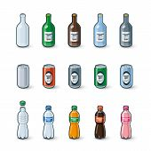 picture of plastic bottle  - Illustration of clear glass bottle aluminium can and plastic bottle in different color drink modification with labels - JPG