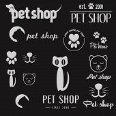 Set of vintage logo and logotype elements for pet shop, pet clinic or pet store poster