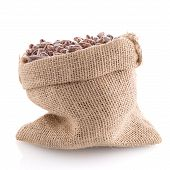 pic of pinto bean  - Closeup of pinto beans bag on white background - JPG