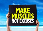 image of arm muscle  - Make Muscles Not Excuses card with beach background - JPG