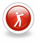 stock photo of foursome  - Image Icon Button Pictogram with Golfing symbol - JPG