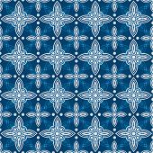 image of indigo  - Indigo and white seamless floral delft pattern - JPG