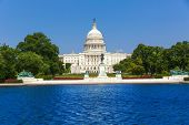 image of capitol building  - Capitol building Washington DC sunlight USA US congress pool - JPG