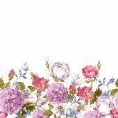 foto of wildflowers  - Floral Seamless Watercolor Border with Roses - JPG