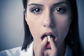 stock photo of runaway  - Schizophrenic anxious disoriented bipolar mentally ill woman - JPG