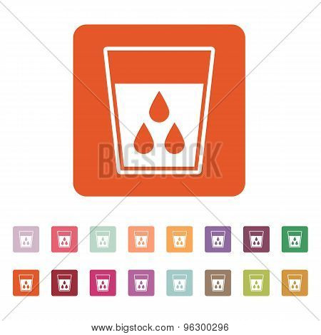 The liquid in glass icon. Water and drink, aqua symbol. Flat