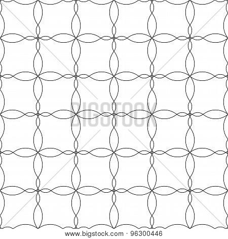 Black And White Geometric Seamless Pattern With Wave Line, Abstract Background.