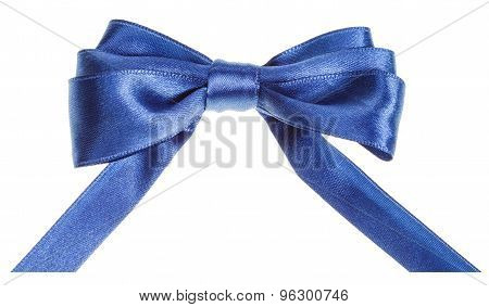 Real Blue Ribbon Bow With Horizontal Cut Ends