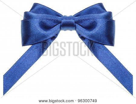 Symmetric Blue Ribbon Bow With Vertically Cut Ends