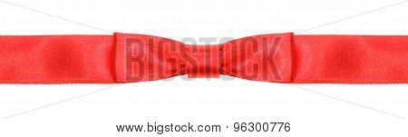 Symmetrical Red Bow Knot On Wide Silk Ribbon
