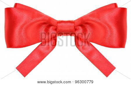 Symmetric Red Silk Ribbon Bow With Square Cut Ends