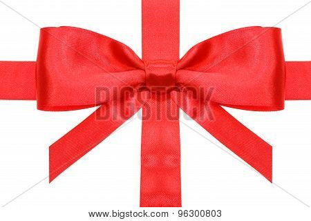 Red Bow With Vertical Cut Ends On Ribbon Close Up