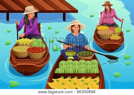 Woman Selling Fruit In A Traditional Floating Market