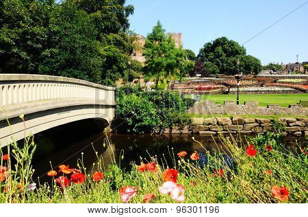 Tamworth Castle Gardens and River.