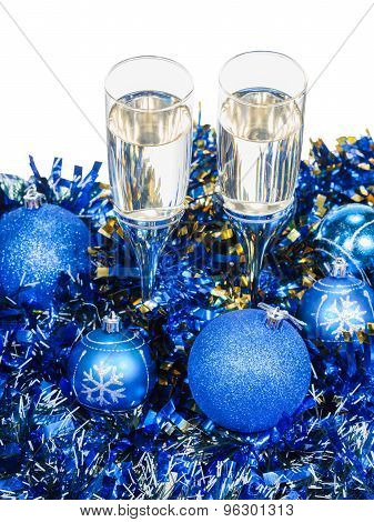Above View Of Two Glasses At Blue Xmas Decorations