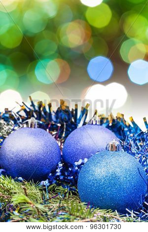 Xmas Blue Decoration On Blurred Green Background