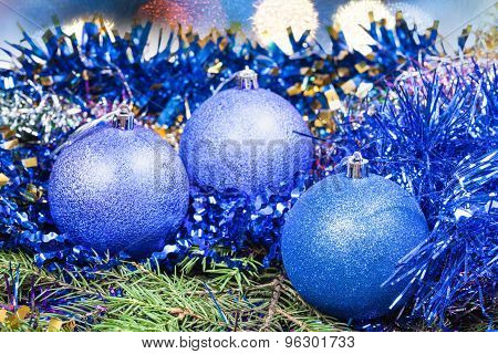 Xmas Blue Decoration On Christmas Background
