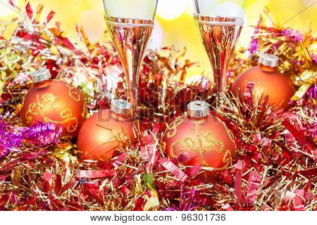 Glasses And Gold Xmass Balls Close Up
