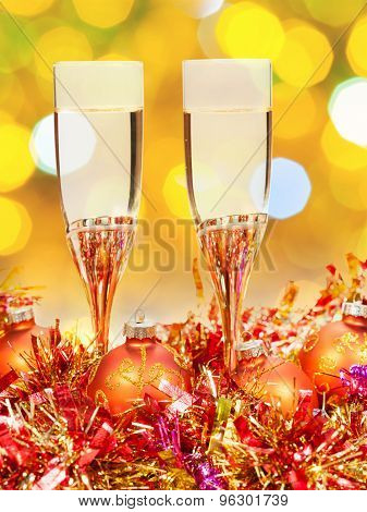 Glasses, Gold Xmass Balls On Blurry Background 7