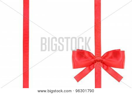 Red Satin Bow Knot And Ribbons On White - Set 49